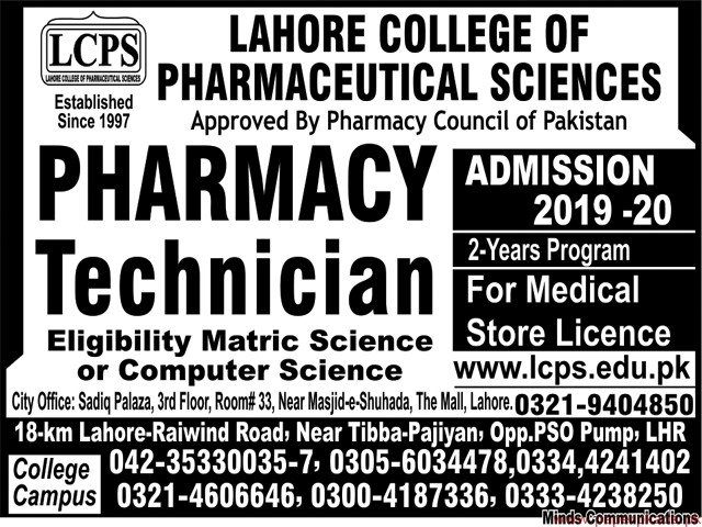 Lahore College of Pharmaceutical Sciences LCPS Jobs 2019 Latest