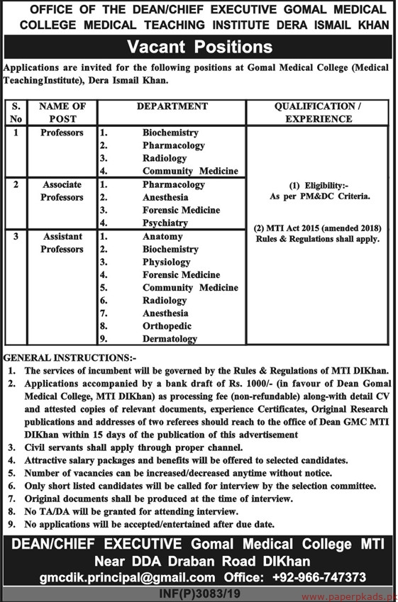 Medical Teaching Institutions Jobs 2019 Latest