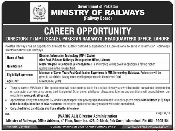 Ministry of Railways Jobs 2019 Latest