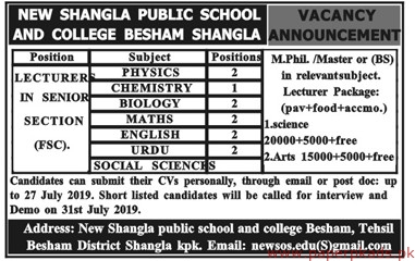 New Shangla Public School and College Jobs 2019 Latest