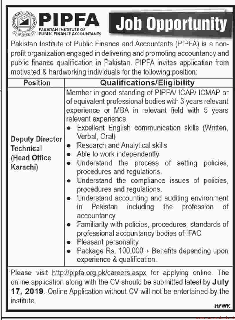 PIPFA Pakistan Institute of Public Finance Accountants Jobs 2019 Latest