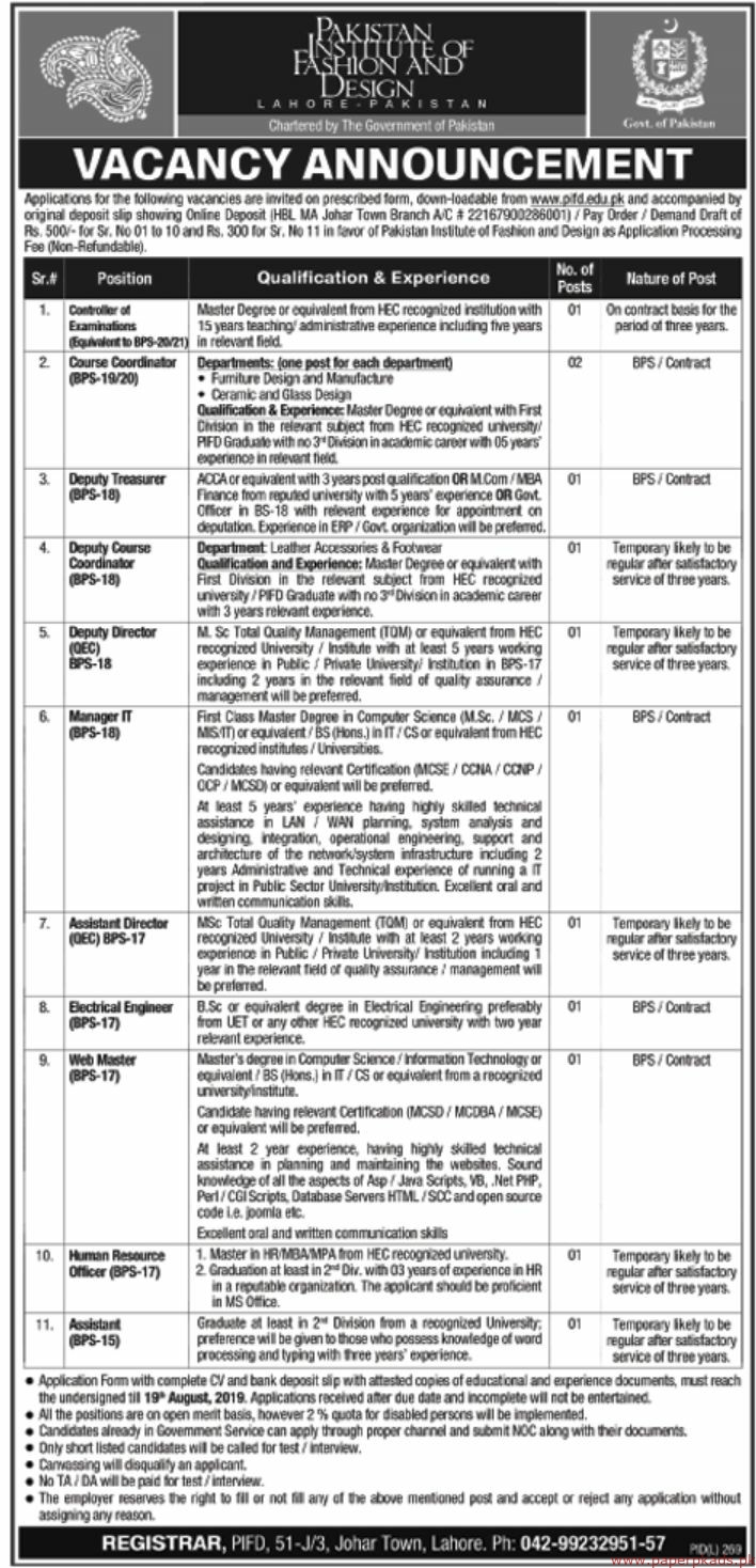 Pakistan Institute of Fashion and Design Lahore Pakistan Jobs 2019 Latest