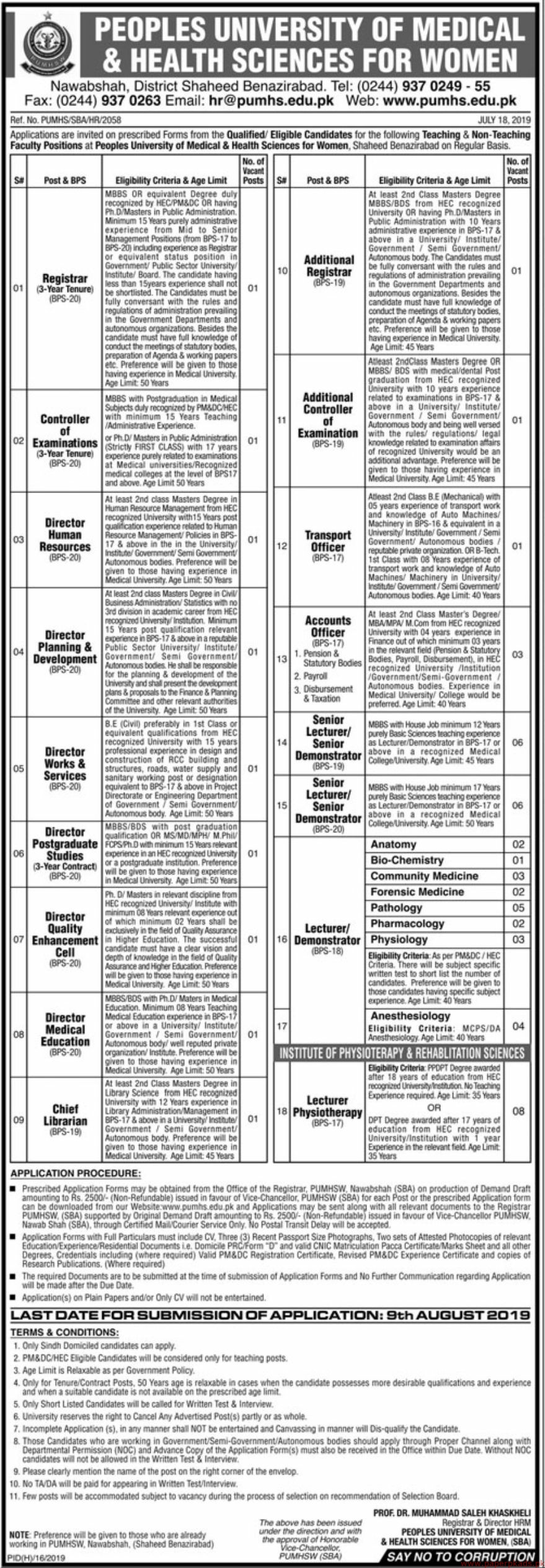 Peoples University of Medical & Health Sciences for Women Jobs 2019 Latest