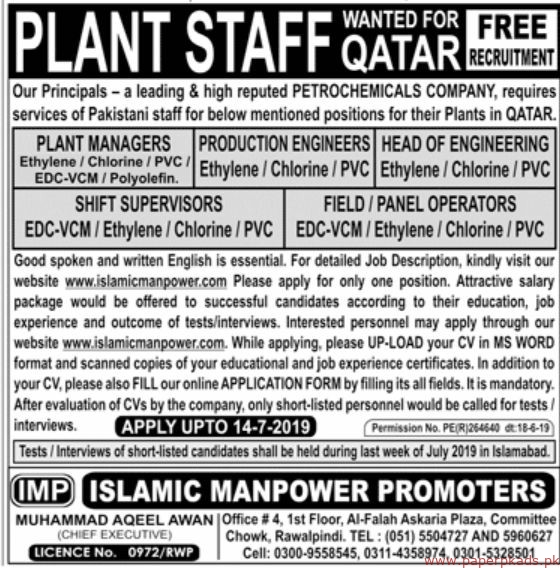 Petrochemicals Company Staff Required