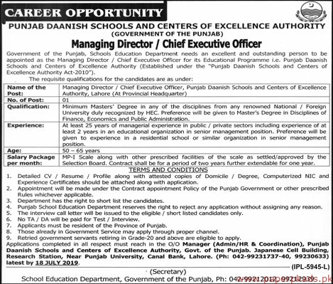 Punjab Daanish Schools and Centers of Excellence Authority Government of the Punjab Jobs 2019 Latest