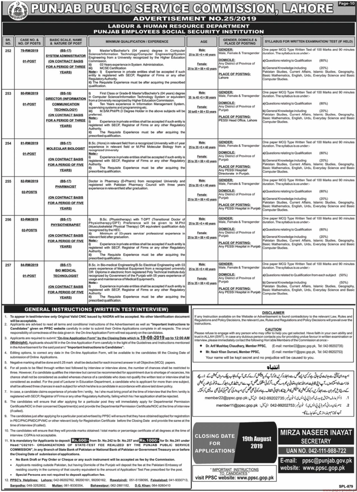 Punjab Public Service Commission (PPSC) Jobs 2019 Latest-2