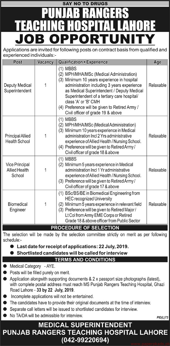 Punjab Rangers Teaching Hospital Jobs 2019 Latest