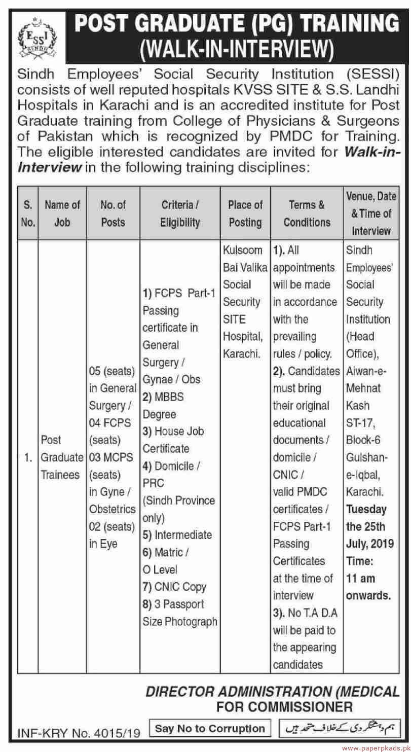 Sindh Employees Social Security Institution SESSI Jobs 2019 Latest