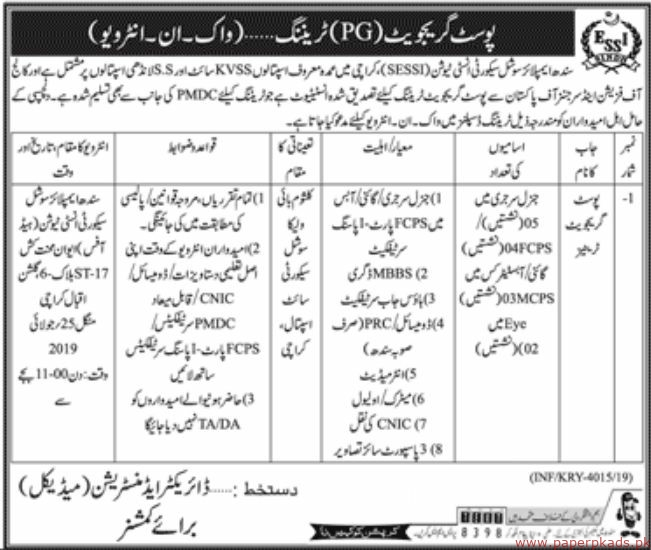 Sindh Employees Social Security Institution (SESSI) Latest Jobs 2019