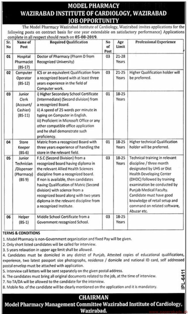 The Model Pharmacy Wazirabad Institute of Cardiology Jobs 2019 Latest