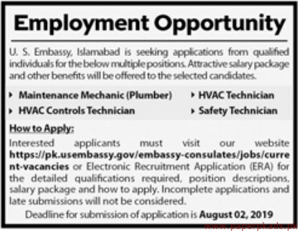 Latest Jobs in US Embassy Islamabad – PaperPk com