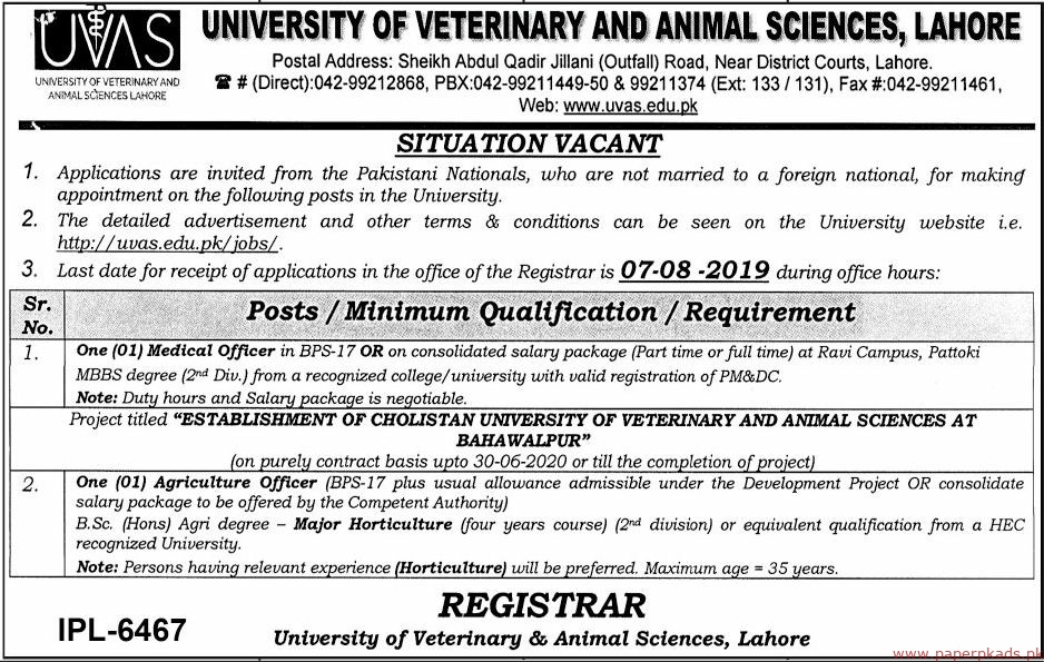 University of Veterinary and Animal Sciences Lahore Jobs 2019 Latet