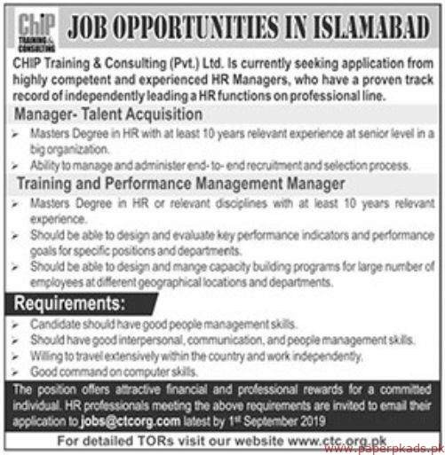 CHIP Training & Consulting Pvt Ltd Jobs 2019 Latest