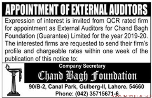 Chand Bagh Foundation Jobs 2019 Latest