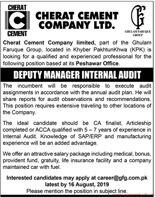 Cherat Cement Company Limited Jobs 2019 Latest