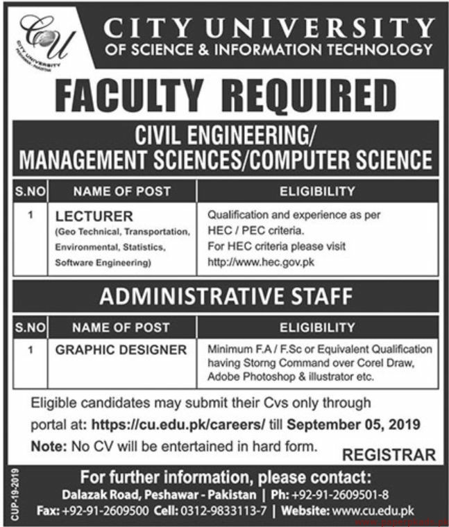 City University of Science & Information Technology Jobs 2019 Latest