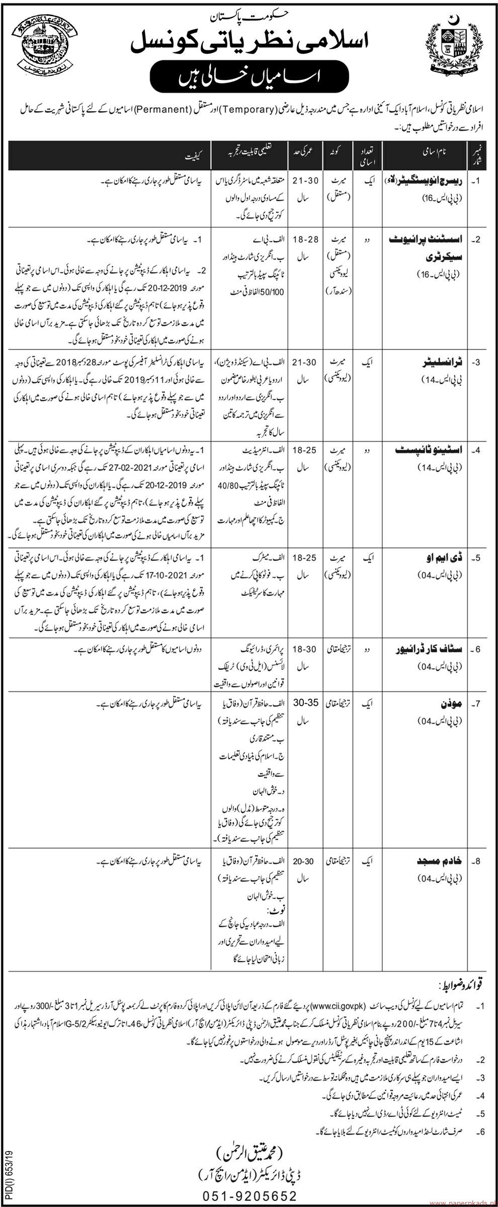 Council of Islamic Ideology Jobs 2019 Latest