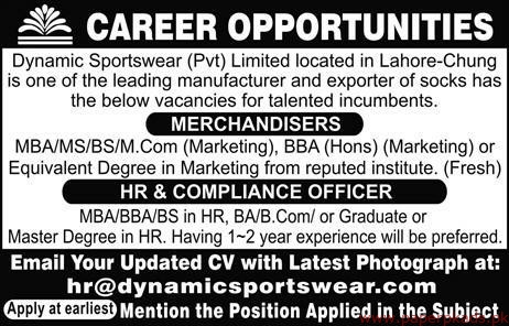Dynamic Sportswear Private Limited Jobs 2019 Latest