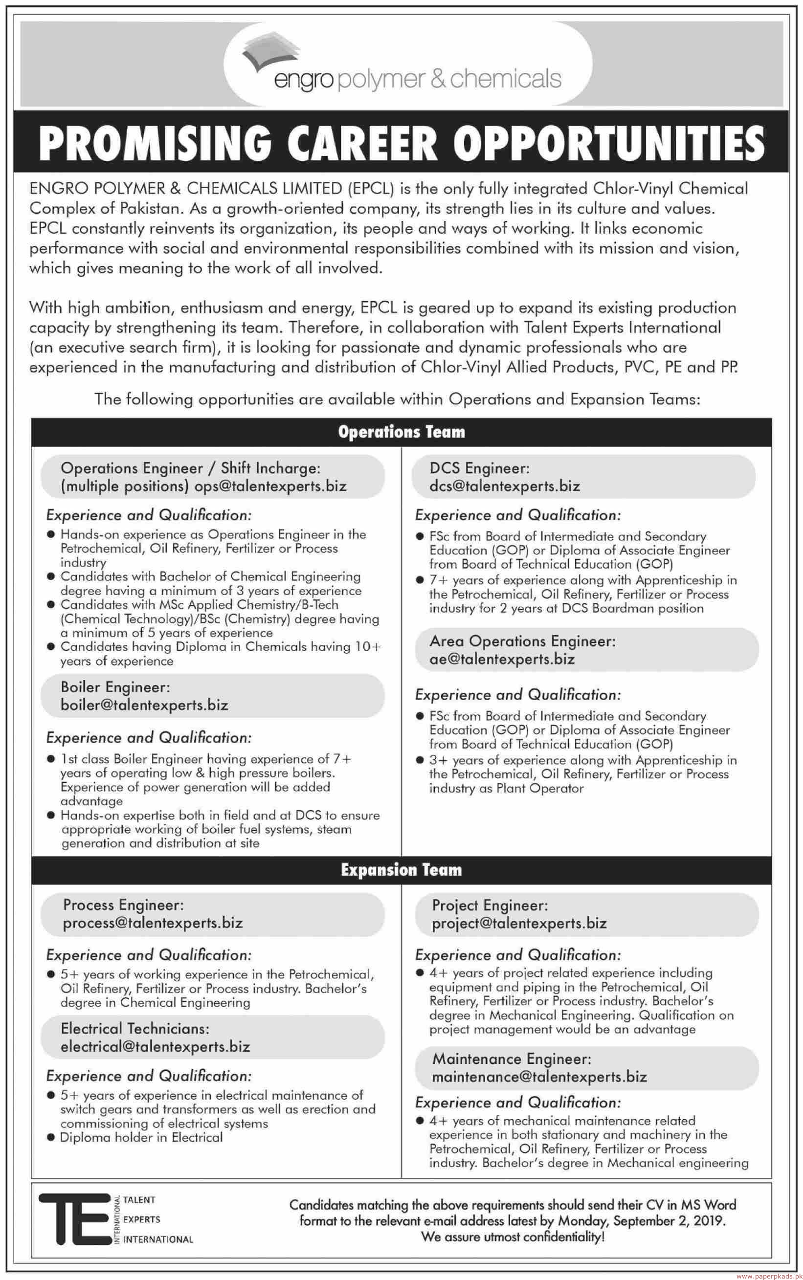 Engro Polymer & Chemicals Limited EPCL Jobs 2019 Latest