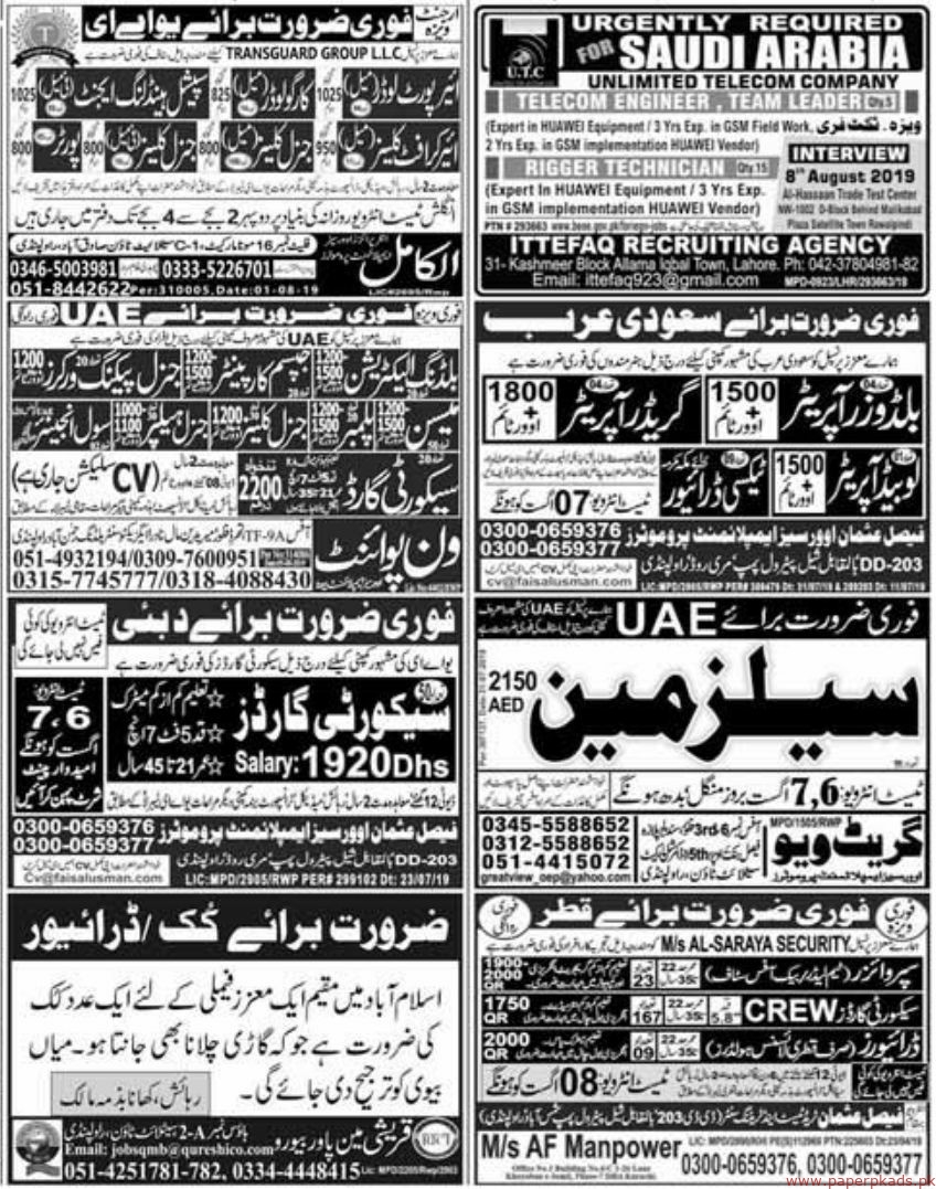 Express Newspaper Jobs 06 August 2019 Latest
