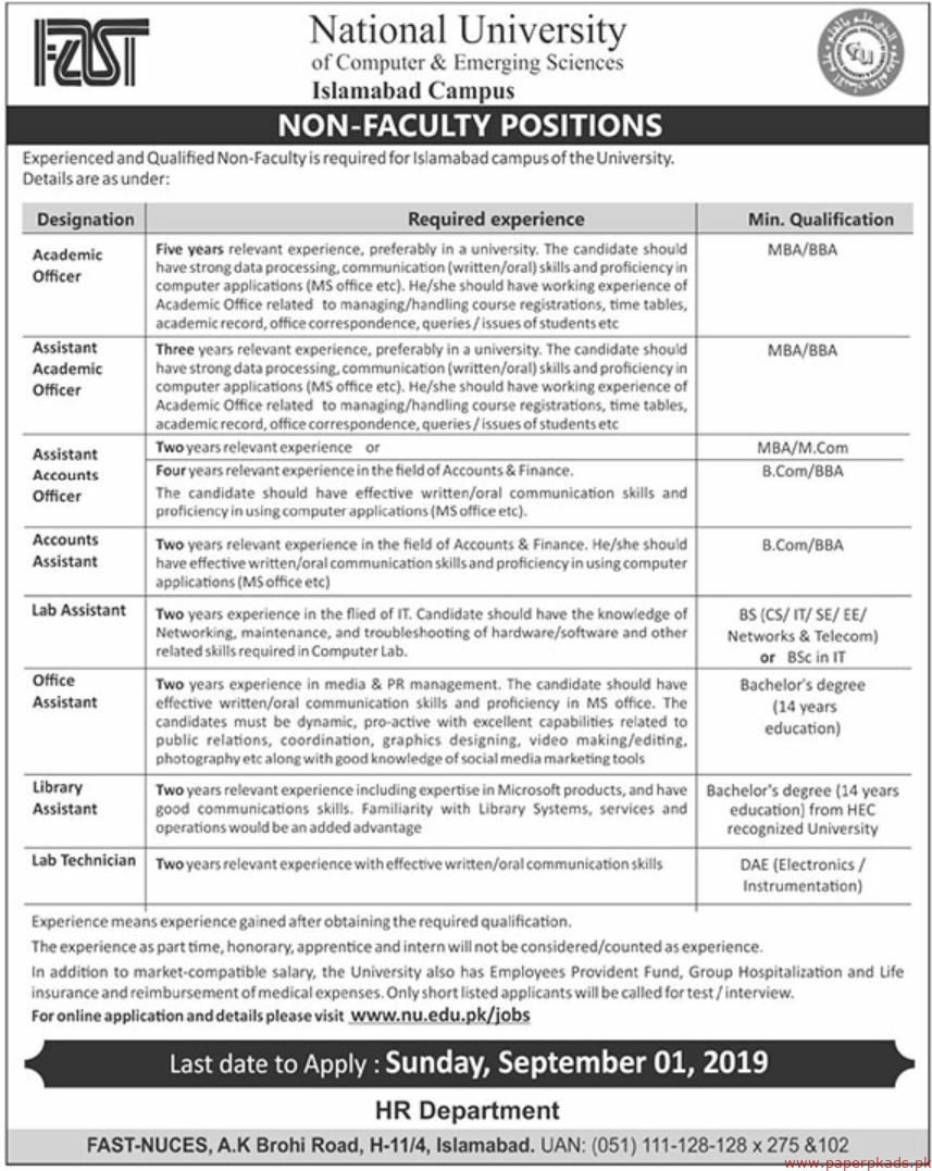 FAST National University Jobs 2019 Latest