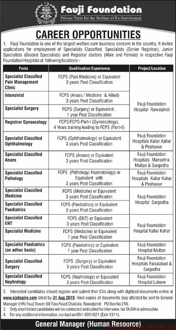 Fauji Foundation FF Jobs 2019 Latest