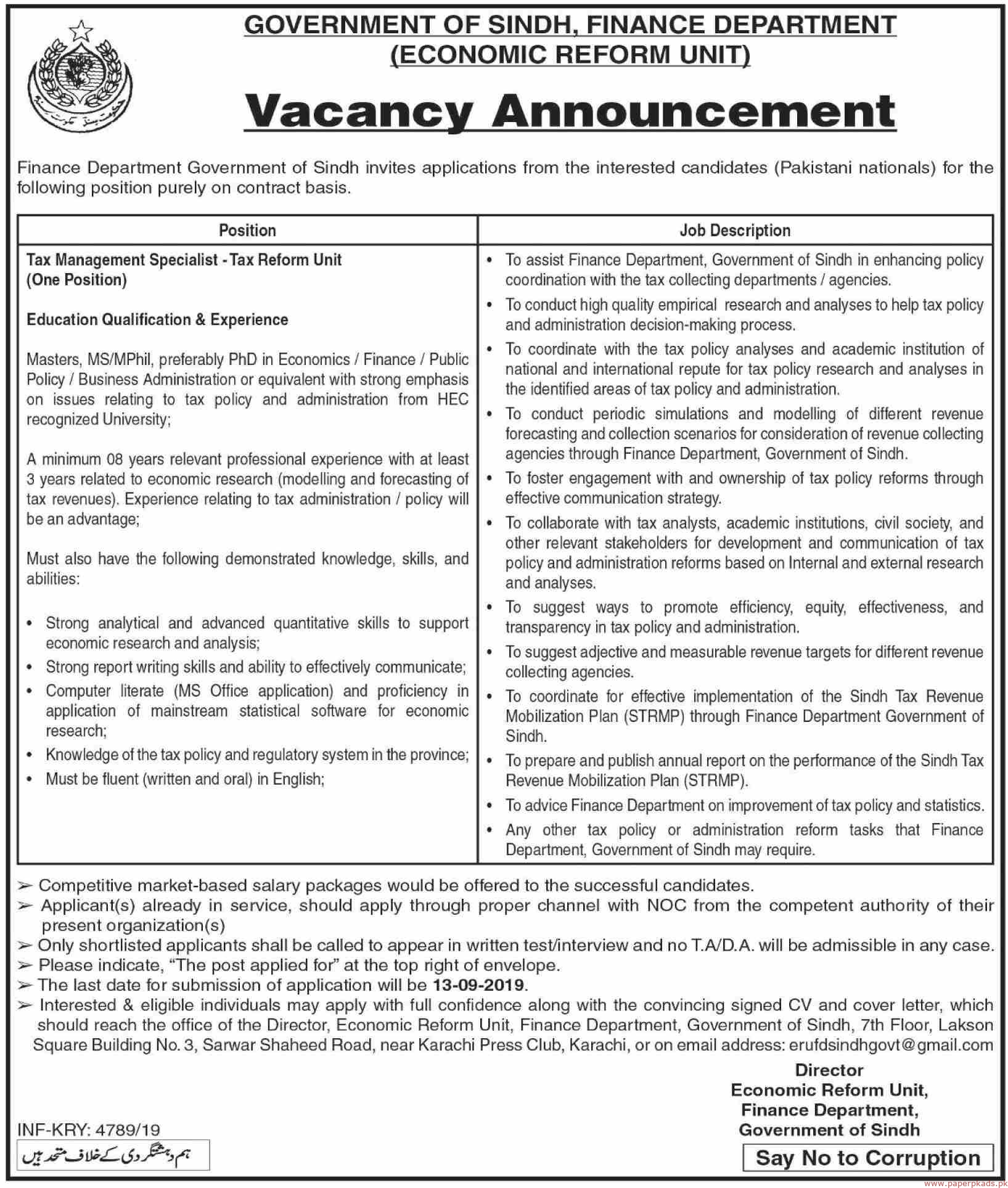 Finance Department Government of Sindh Jobs 2019 Latest