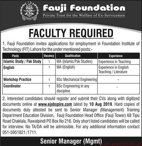 Foundation Institute of Technology Jobs 2019 Latest