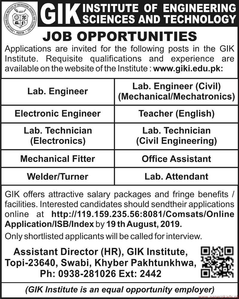 GIK Institute of Engineering Sciences and Technology Jobs 2019 Latest