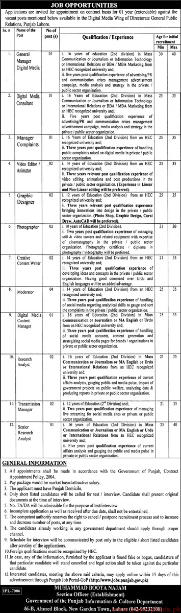 General Public Relations Punjab Lahore Jobs 2019 Latest