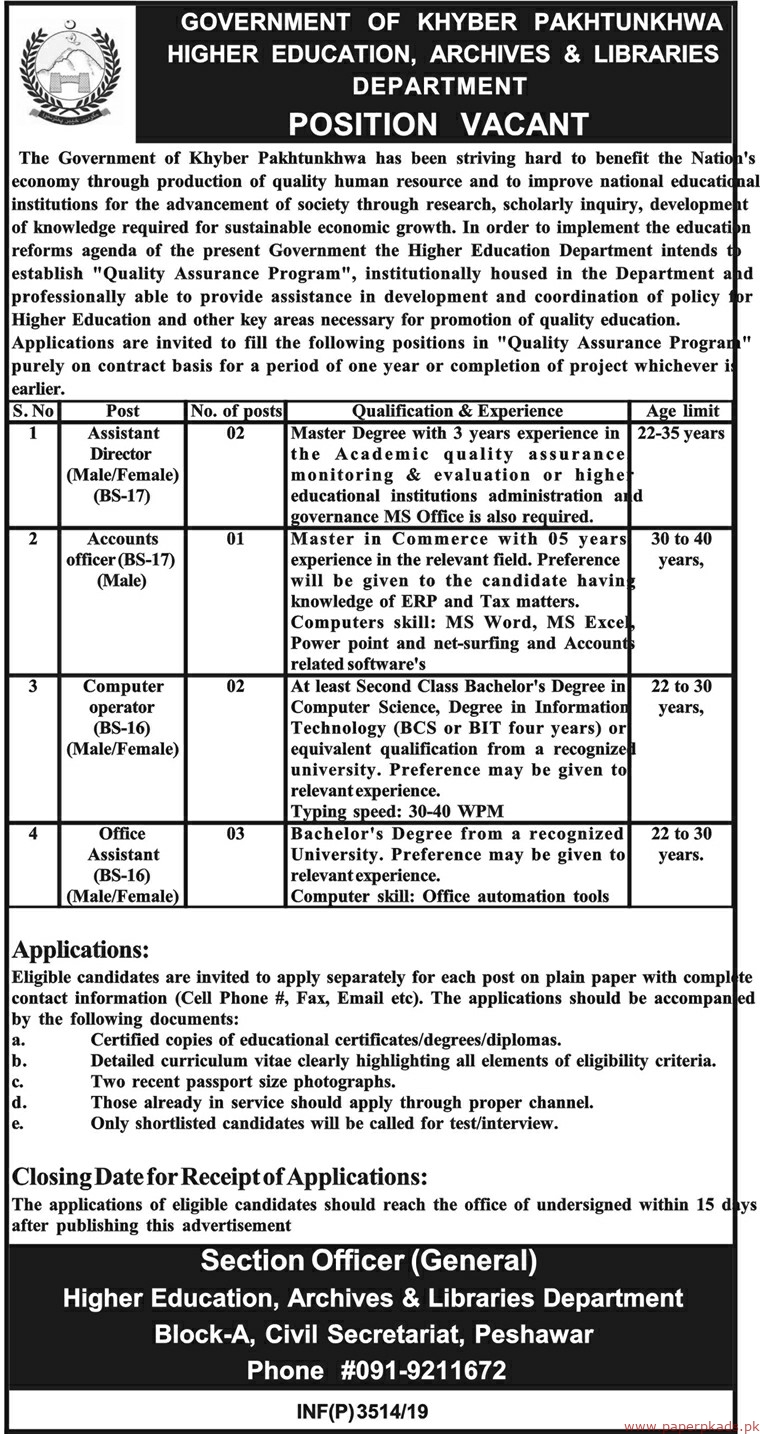 Government of Khyber Pakhtunkhwa Higher Education Archives & Libraries Department Jobs 2019 Latest