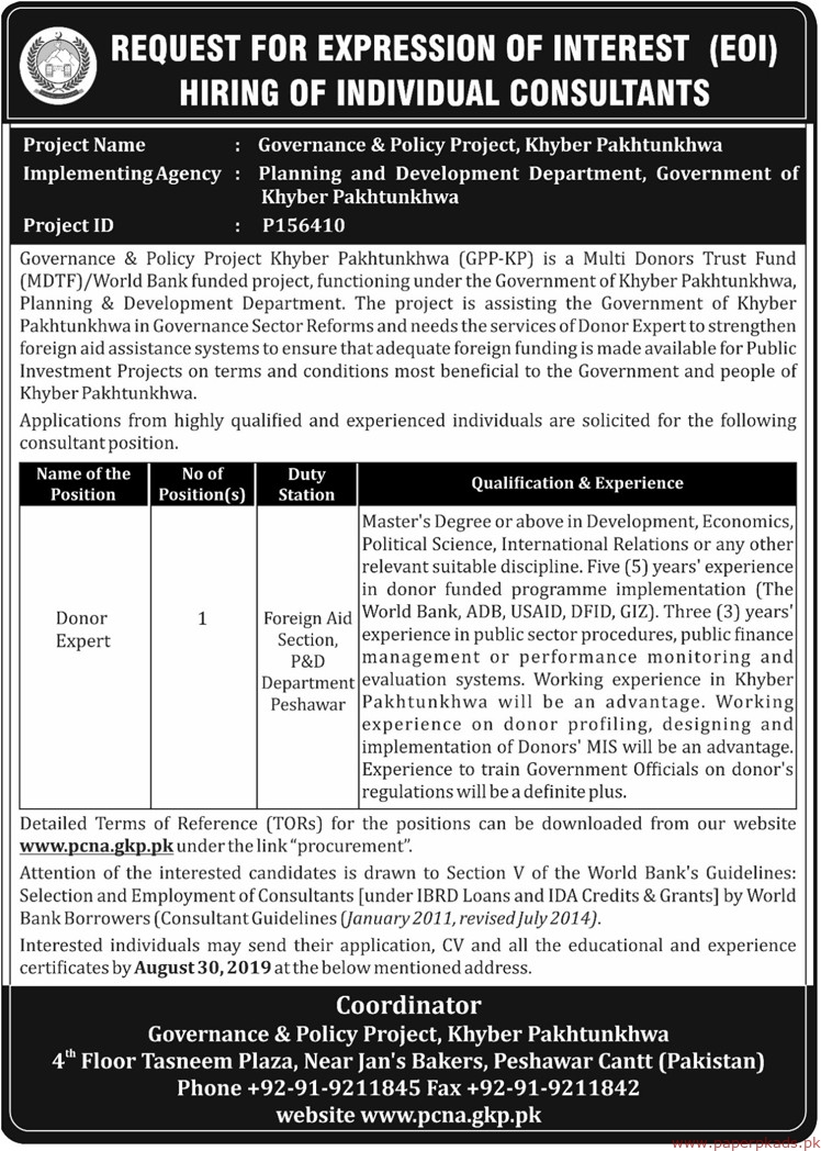 Government of Khyber Pakhtunkhwa Planning and Development Department Latest Jobs 2019
