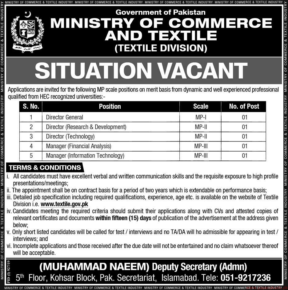 Government of Pakistan Ministry of Commerce and Textile Jobs 2019 Latest