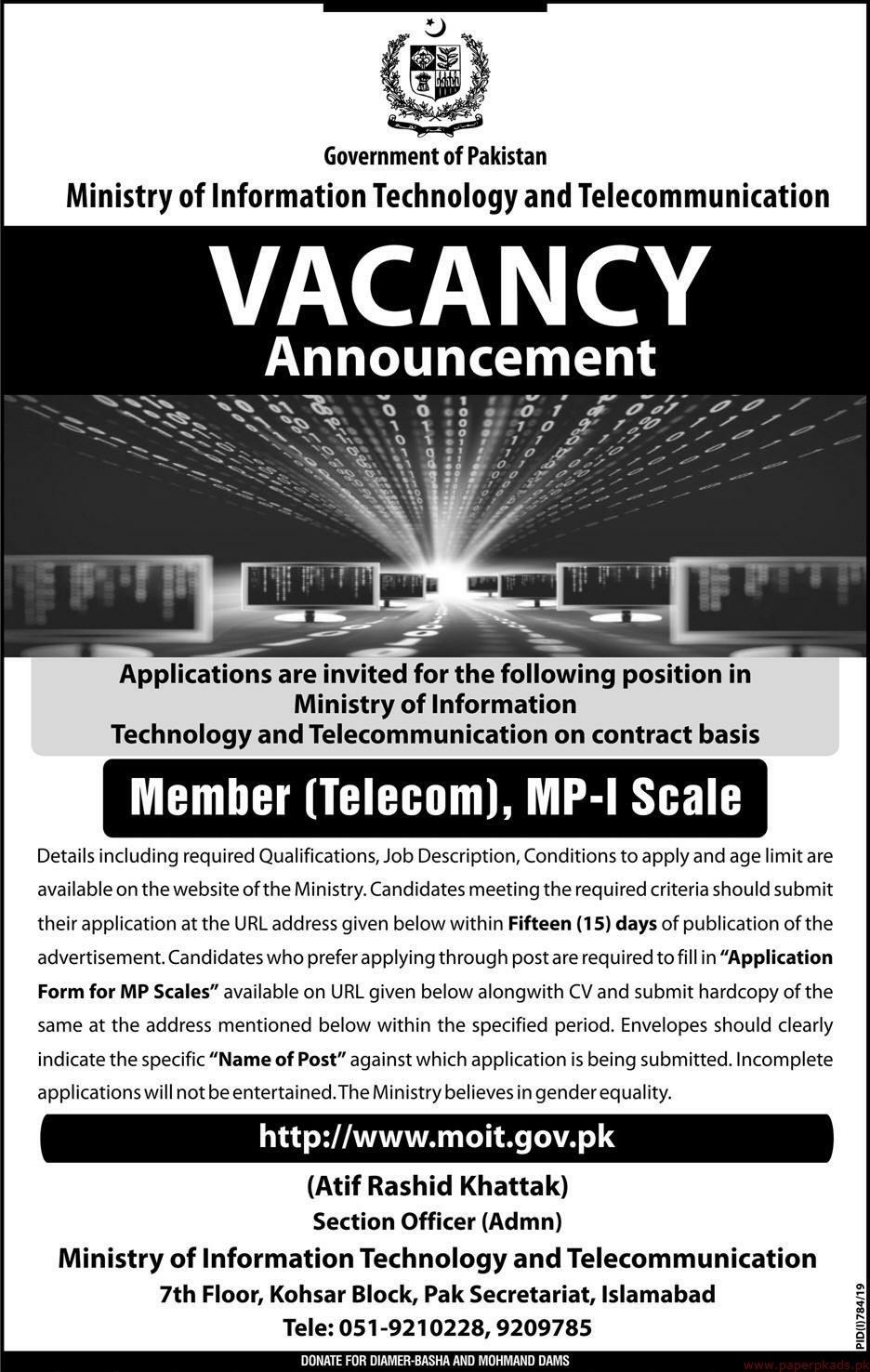 Government of Pakistan Ministry of Information Technology and Telecommunication Jobs 2019 Latest