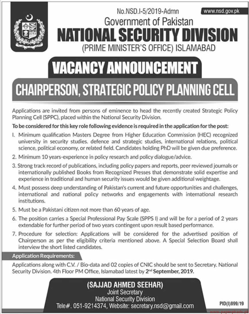 Government of Pakistan National Security Division Islamabad Jobs 2019 Latest
