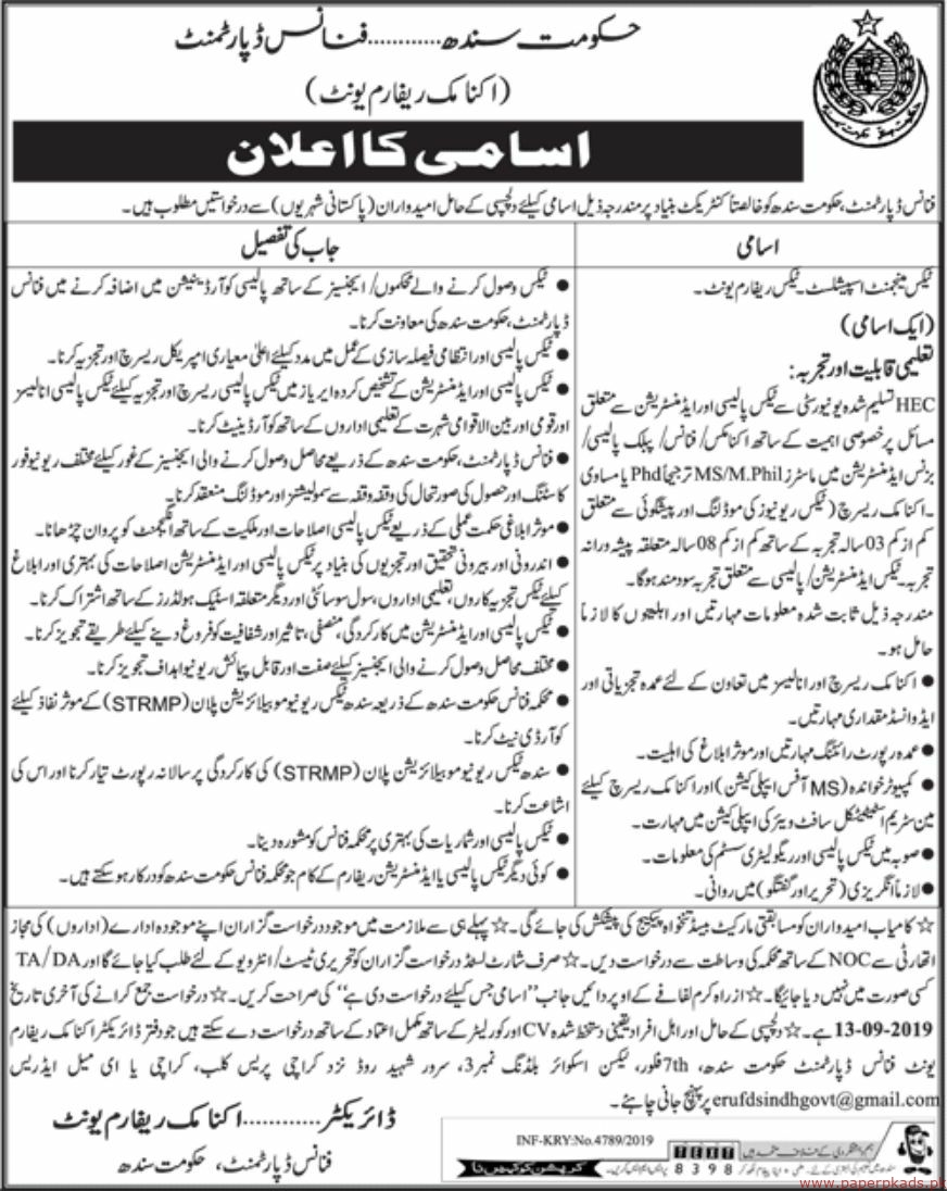 Government of Sindh Finance Department Jobs 2019 Latest