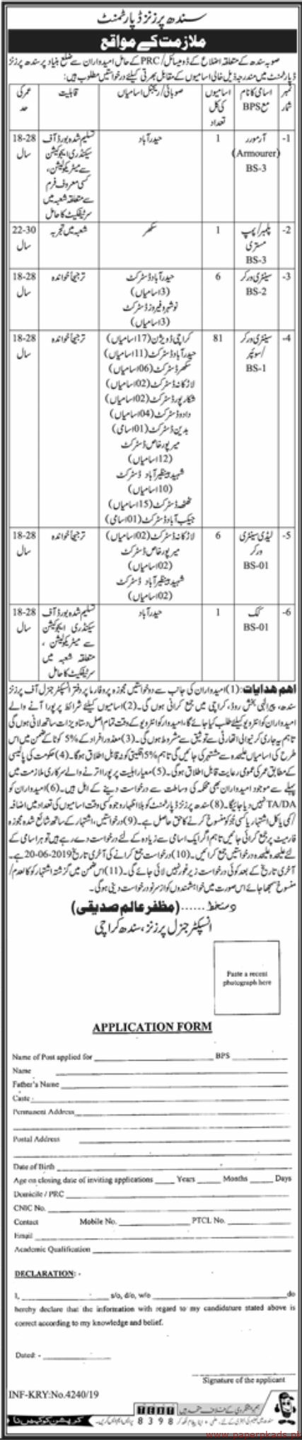 Government of Sindh - Sindh Prisoners Department jobs 2019