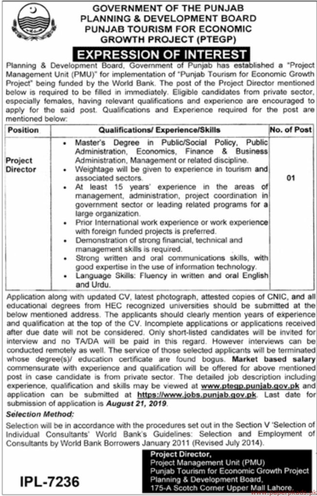 Government of the Punjab - Planning & Development Board Jobs 2019 Latest