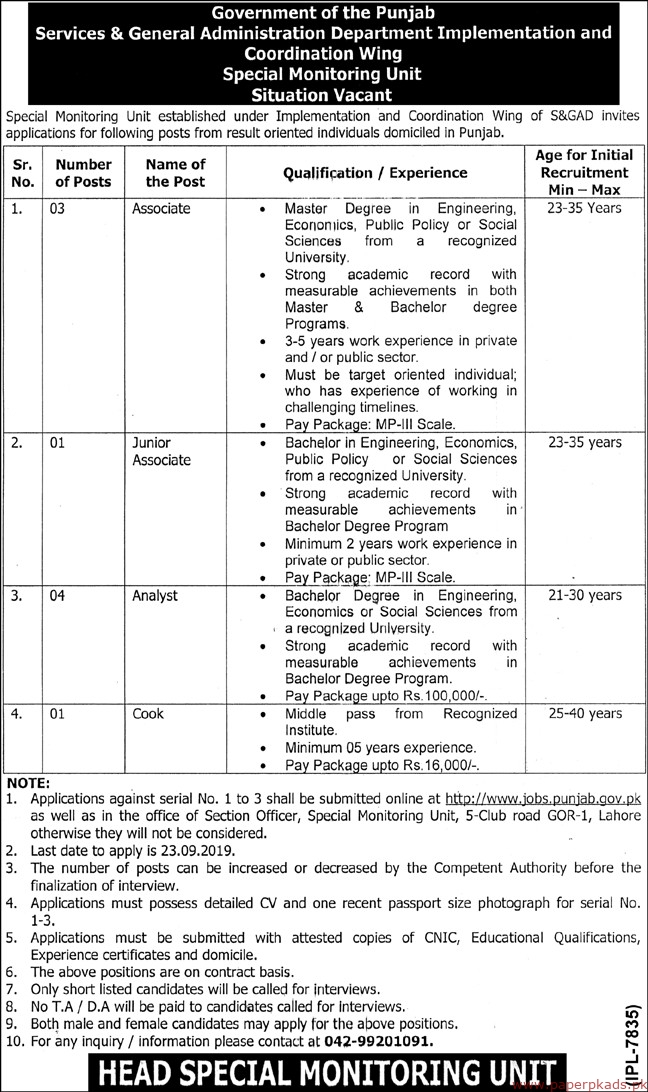 Government of the Punjab Special Monitoring Unit SPU Jobs 2019 Latest