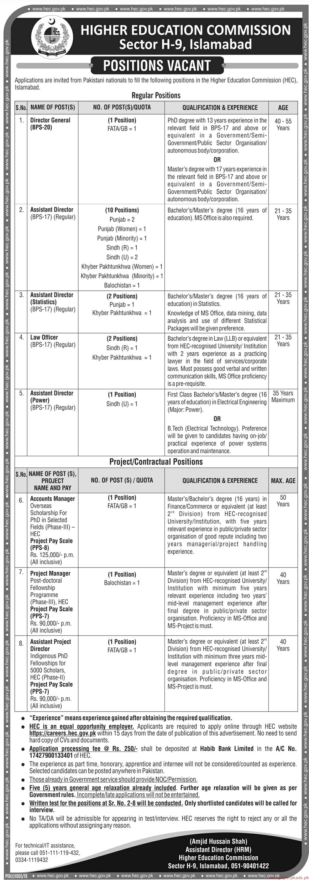 Higher Education Commission (HEC) Latest Jobs 2019