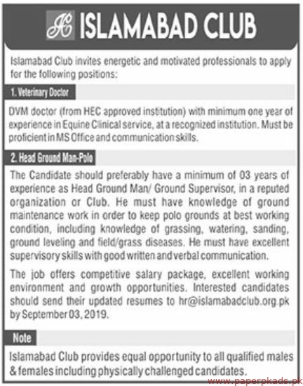 Islamabad Club Jobs 2019 Latest