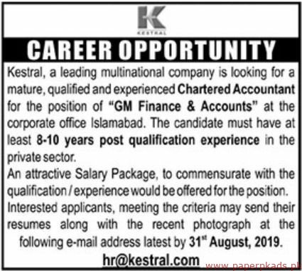 Kestral Multinational Company Jobs 2019 Latest