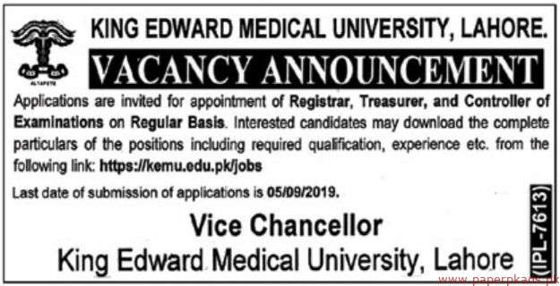 King Edward Medical University Jobs 2019 Latest