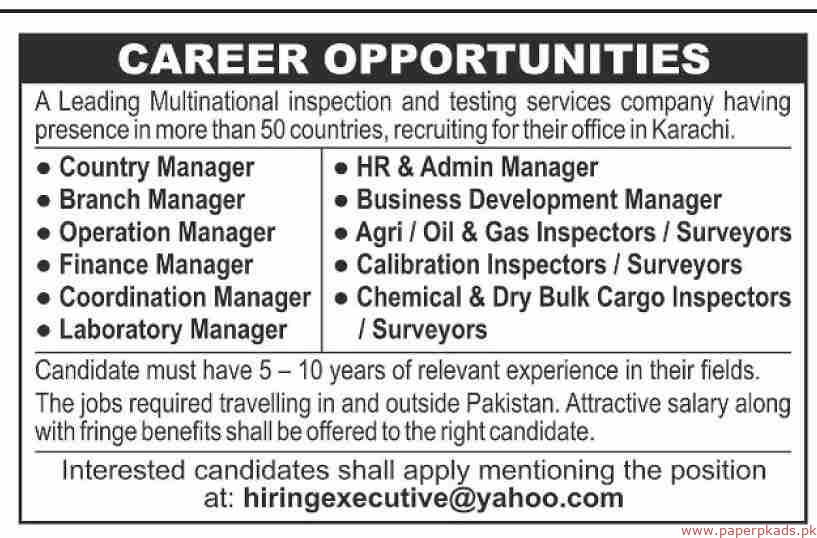 Leading Multinational Inspection Testing Services Company Jobs 2019 Latest