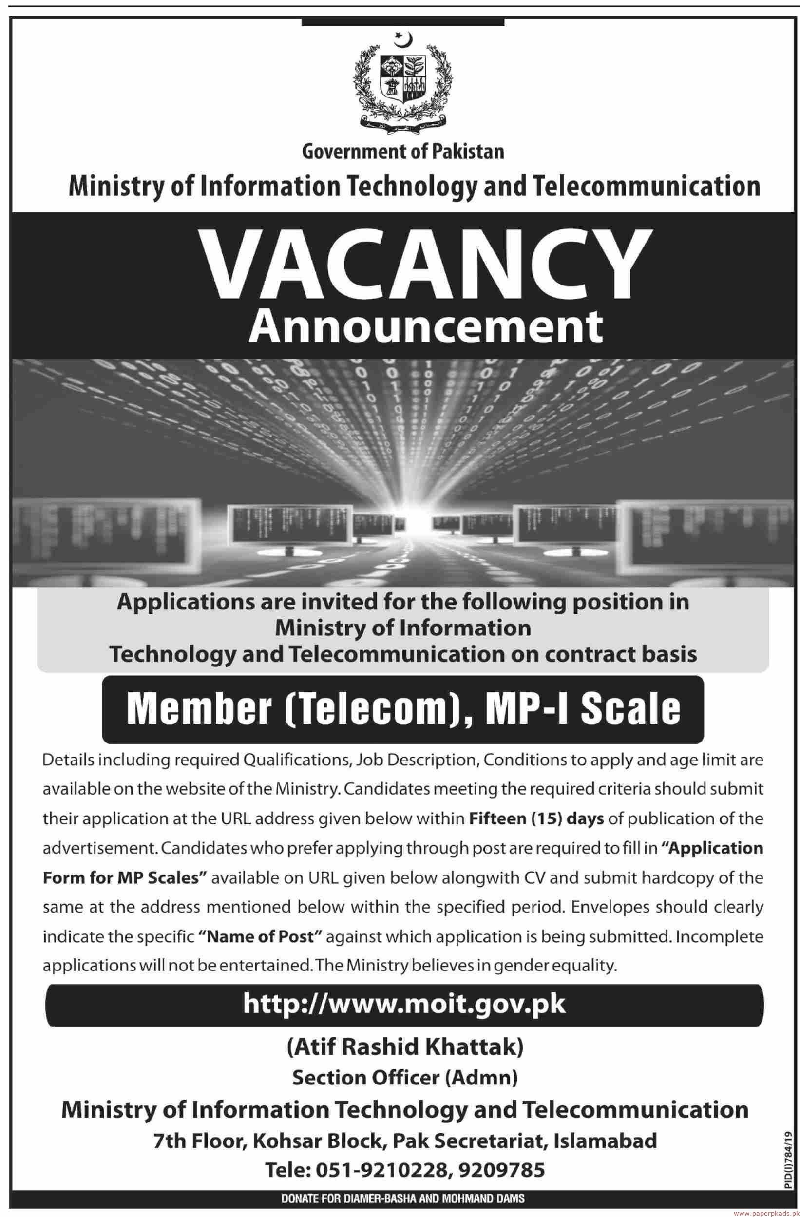 Ministry of Information Technology and Telecommunication Jobs 2019 Latest