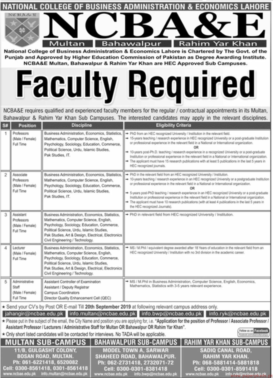 National College of Business Administration & Economics NCBA&E Lahore Jobs 2019 Latest