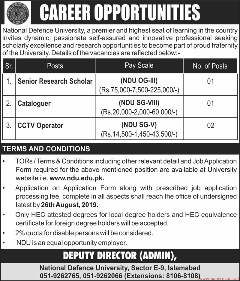 National Defence University Jobs 2019 Latest
