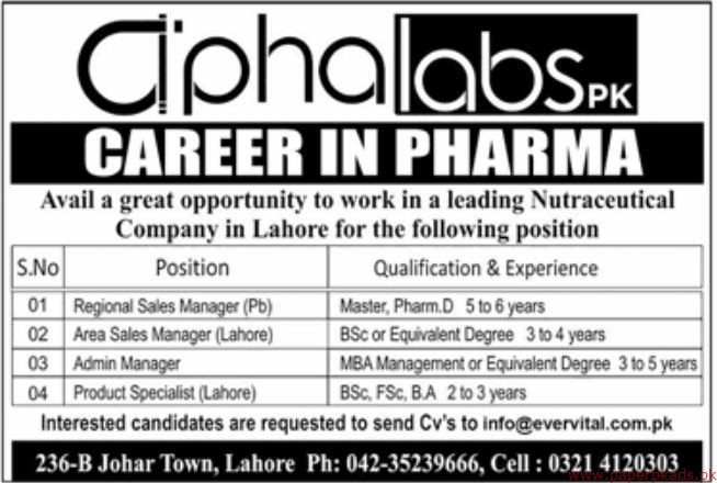 Nutraceutical Company Lahore Jobs 2019 Latest