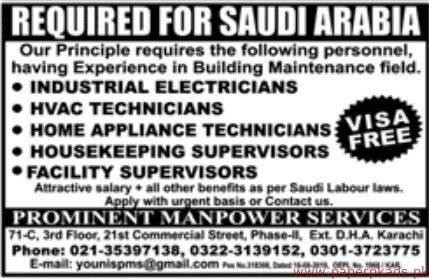 Prominent Manpower Services Jobs 2019 Latest