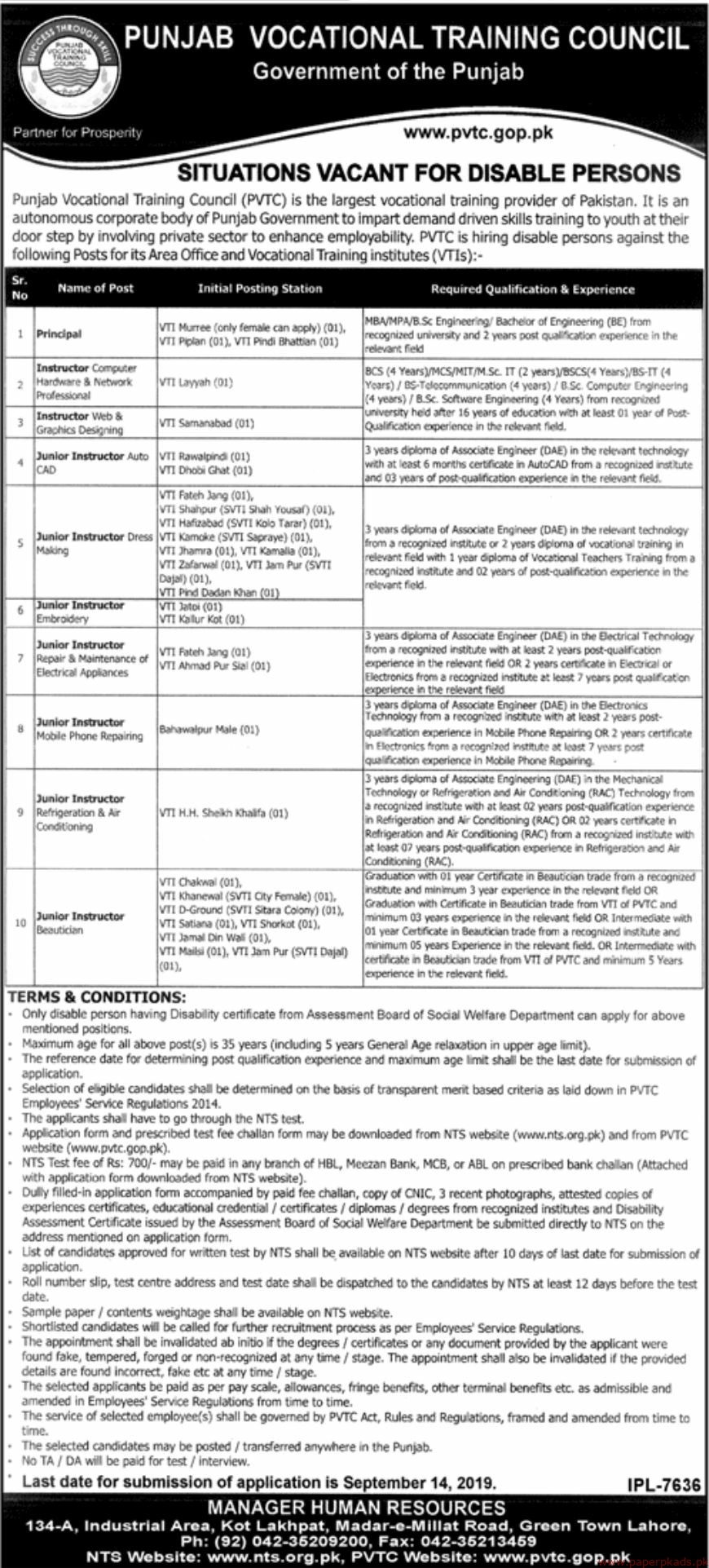 Punjab Vocational Training Council (PVTC) Government of the Punjab Jobs 2019 Latest